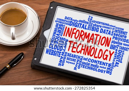 information technology concept with related word cloud handwritten on tablet pc - stock photo