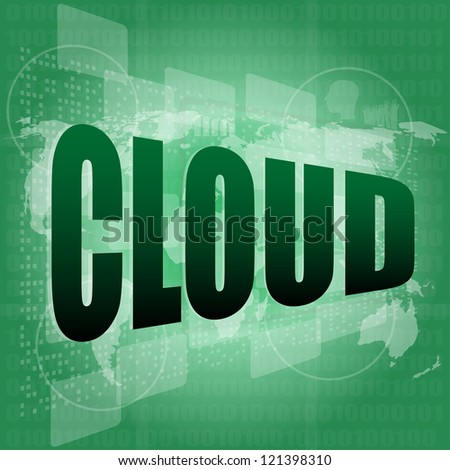 Information technology concept: words Cloud on digital screen, raster - stock photo