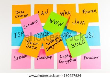 Information Technology concepts on sticky notes on a white background. - stock photo