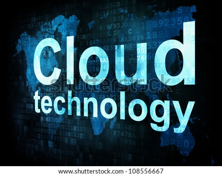 Information technology IT concept: pixelated words Cloud technology on digital screen, 3d render