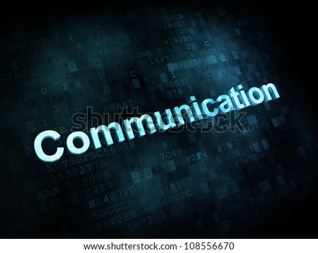 Information technology IT concept: pixelated words Communication on digital screen, 3d render - stock photo
