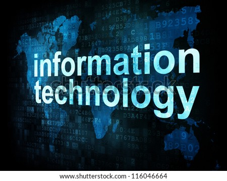 Information technology IT concept: pixelated words information technology on digital screen, 3d render - stock photo