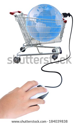 Information technology with Shopping cart, Global network social media concept, Photo illustration modern template design isolated on white background. This has clipping detail path. - stock photo