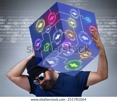 Information technology worker carrying the weight of the social networking world - stock photo
