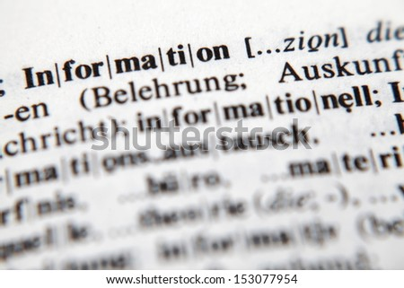 Information, text and explanation in German language./Information - stock photo