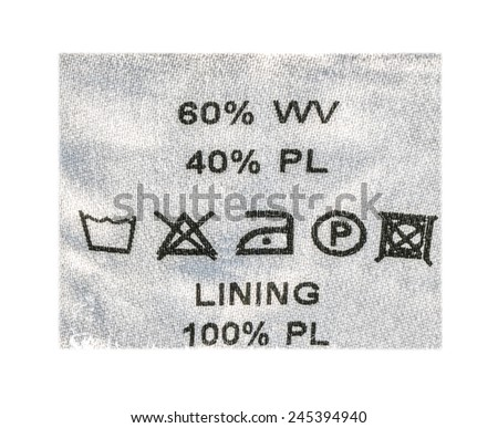 information textile label closeup on white background
