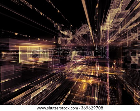 Information Trails series. Backdrop composed of Fractal three dimensional textures in perspective and suitable for use in the projects on science, communications and modern technology - stock photo