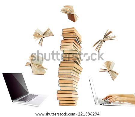 Information transfer.Books flying in tablet from laptop isolated on white - stock photo