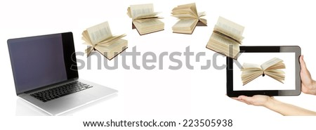 Information transfer. Books flying in tablet from laptop isolated on white - stock photo
