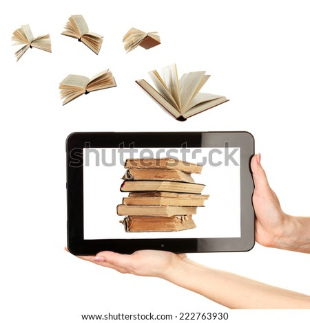 Information transfer.Books flying in tablet isolated on white - stock photo
