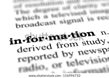 information word from online free dictionary, close up - stock photo