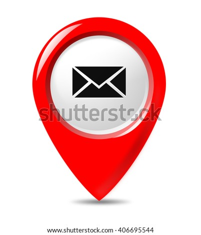 Informational pointer button with letter, message, e-mail, contact icon.