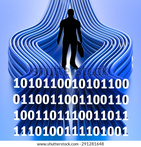 Informational technology concept, business man in center of information flow, binary data stream around man silhouette on blue background - stock photo
