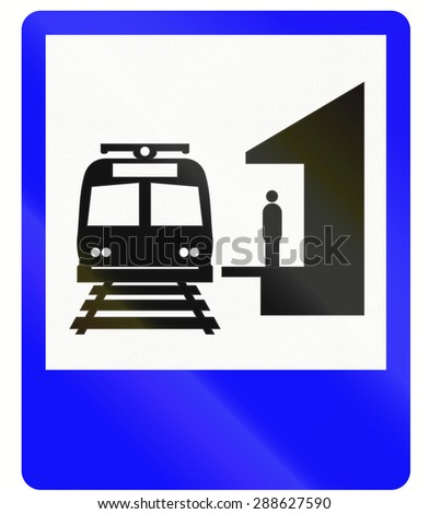 Informative road sign in Indonesia: Train station - stock photo