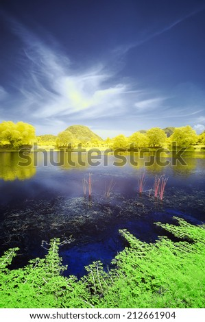 Infrared edited image of a plant floating at the lake and trees at the river bank with mountain background - stock photo