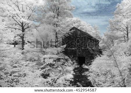 Infrared image of sawmill at Moore State Park in Paxton, Massachusetts