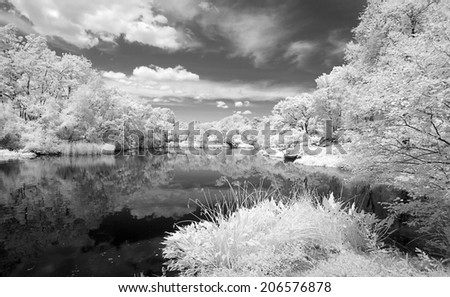 Infrared image of the Central Park in Manhattan - stock photo