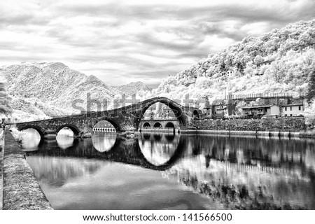 infrared picture of ponte del diavolo - stock photo