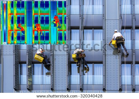 Infrared thermovision and real image Three climbers wash windows - stock photo
