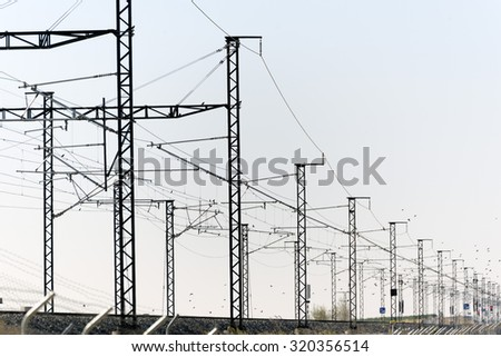 Infrastructure of the way forward railway - stock photo
