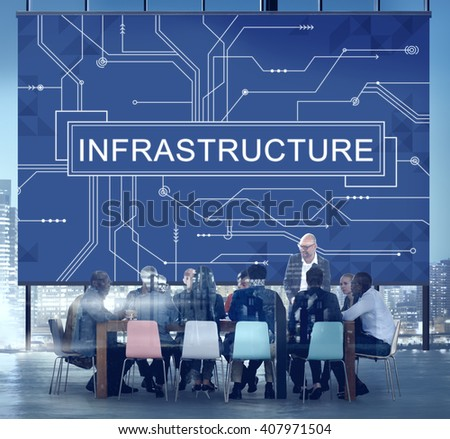 Infrastructure Technology Circuit Board Information Framework Concept - stock photo