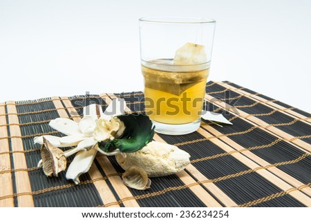 Infusion glass of mint-mint tea on white background - stock photo