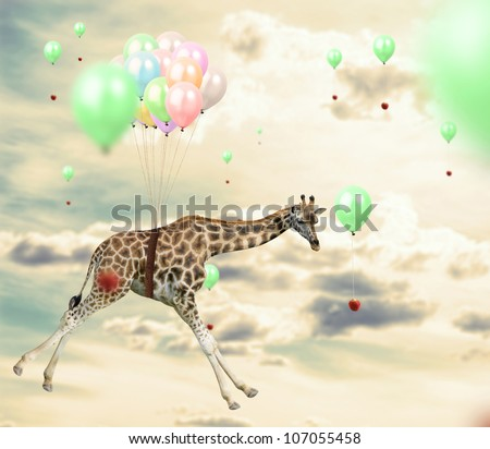 Ingenious giraffe flying using balloons to reach an apple - stock photo