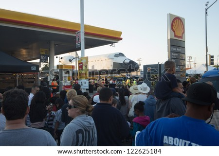 INGLEWOOD, CA - SEPT 21: Shuttle Endeavour moves across the streets of Inglewood, CA on Oct 12, 2012. - stock photo
