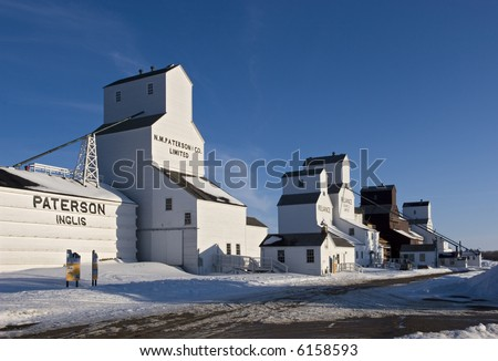 Inglis, Manitoba, Canada. The best remaining example in Canada of a vintage grain elevator row. A national historic site.