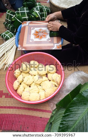 Ingredient for making Chung cake by female craftsman closeup. Traditional Vietnamese New Year (Tet) food.