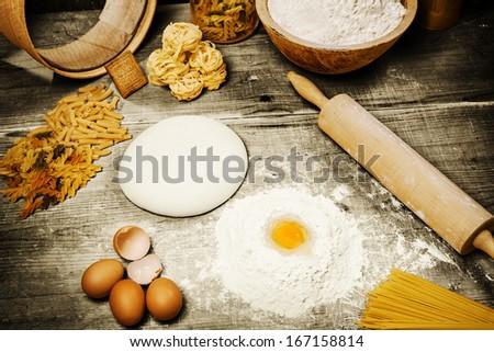 Ingredient for making italian pasta - stock photo