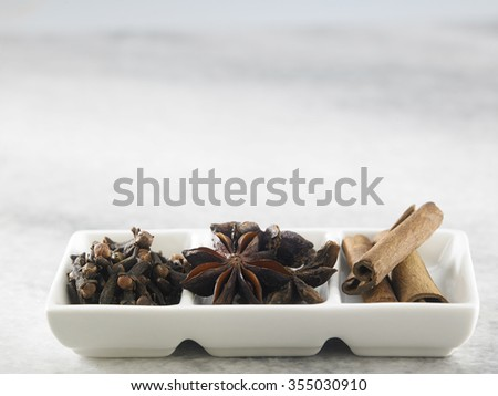 ingredient of anise star,cloves and cinnamon stick - stock photo