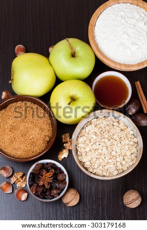 ingredients and spices for apple pie, vertical - stock photo