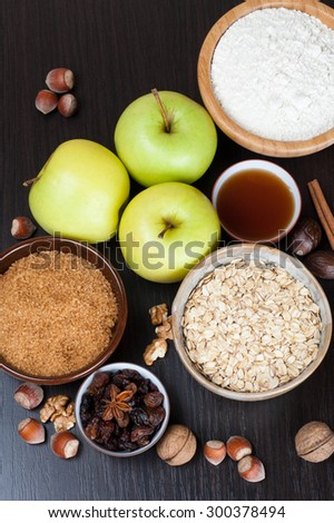 ingredients and spices for baking apple pie, top view, vertical, close-up - stock photo