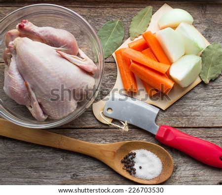ingredients chicken broth - farm chicken, onions, carrots and spices