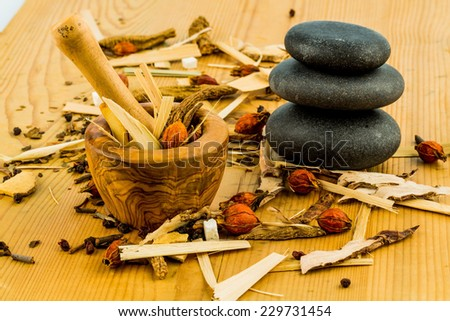 ingredients for a cup of tea in the traditional chinese medicine. cure of diseases by alternative methods. - stock photo