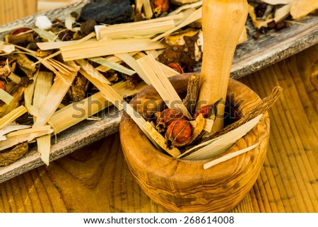 ingredients for a cup of tea in traditional chinese medicine. cure of diseases by alternative methods. - stock photo