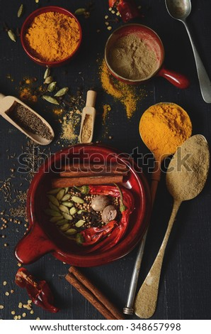 Ingredients for a homemade Garam Masala spice mixture