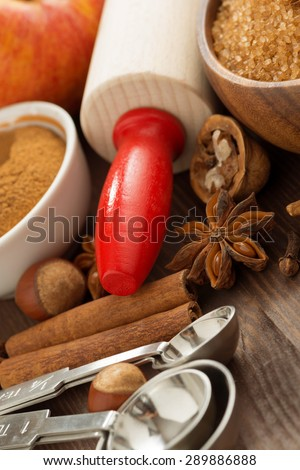 ingredients for baking apple pie, selective focus, close-up, vertical - stock photo