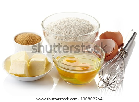 Ingredients for baking cake isolated on white background - stock photo
