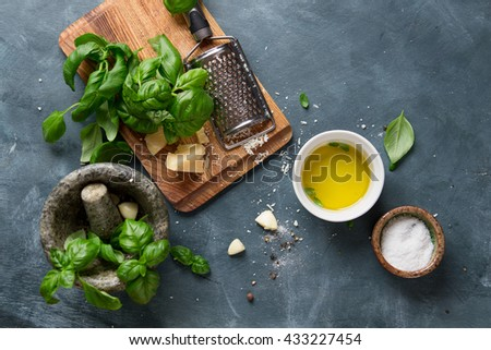 Ingredients for basil pesto  - parmesan cheese, basil, pine nuts, olive oil, garlic, salt and mortar, selective focus