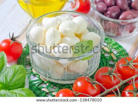 ingredients for caprese - stock photo