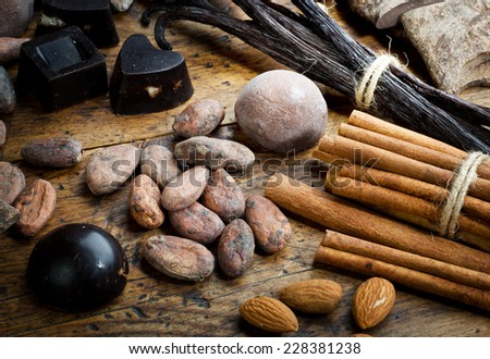 Ingredients for chocolate production - stock photo