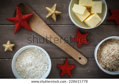 Ingredients for Christmas bakery - stock photo