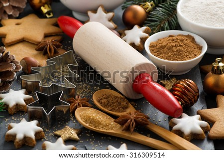 ingredients for Christmas baking and cookies, selective focus, close-up - stock photo