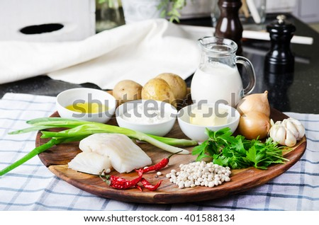 ingredients for cooking cod fish cakes with mashed potato. stock image. - stock photo