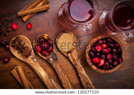 Ingredients for cooking cranberry hot mulled wine - stock photo