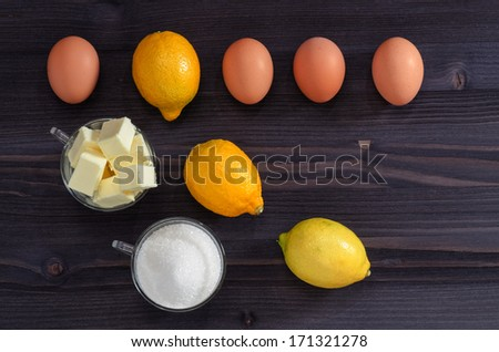 Ingredients for cooking cream From series French Desserts - stock photo
