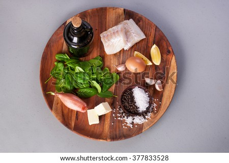 ingredients for cooking fish - stock photo