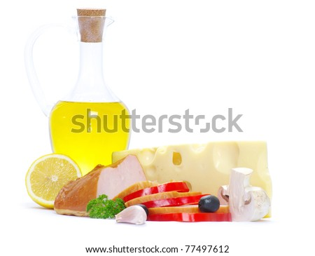 Ingredients for cooking italian pasta over white